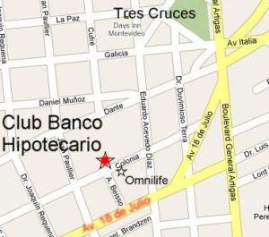 Plano de ubicación del Club Banco Hipotecario del Uruguay.