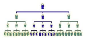 Red de afiliados en un multinivel.
